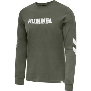 Textiel Heren T-shirts met lange mouwen Hummel T-shirt manches longues  hmlLEGACY vert kaki/blanc
