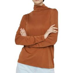 Textiel Dames T-shirts met lange mouwen Pieces  Brown