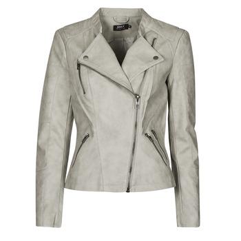 Textiel Dames Leren jas / kunstleren jas Only ONLAVA Grijs