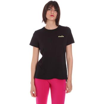 Textiel Dames T-shirts korte mouwen Diadora 102175882 Zwart