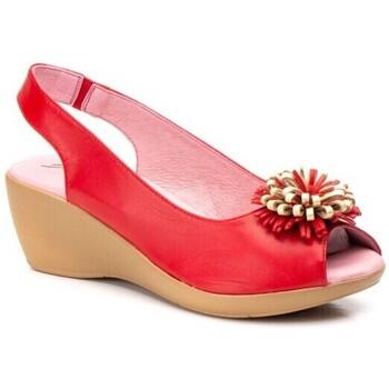 Schoenen Dames Sandalen / Open schoenen Cbp - Conbuenpie Sandalias de piel con cuña by CBP Rouge