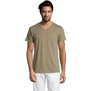 Textiel Heren T-shirts korte mouwen Sols Master camiseta hombre cuello pico Kaki