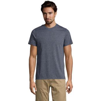 Textiel Heren T-shirts korte mouwen Sols Mixed Men camiseta hombre Azul