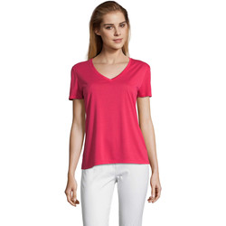 Textiel Dames T-shirts korte mouwen Sols MOTION camiseta de pico mujer Rosa