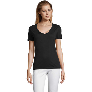 Textiel Dames T-shirts korte mouwen Sols MOTION camiseta de pico mujer Negro