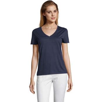 Textiel Dames T-shirts korte mouwen Sols MOTION camiseta de pico mujer Azul
