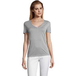 Textiel Dames T-shirts korte mouwen Sols MOTION camiseta de pico mujer Gris