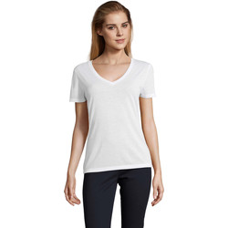 Textiel Dames T-shirts korte mouwen Sols MOTION camiseta de pico mujer Blanco