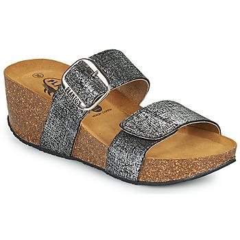 Schoenen Dames Leren slippers Plakton SO ROCK Zwart / Métalisé
