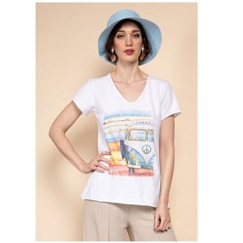 Textiel Dames Tops / Blousjes Fashion brands 8301-COMBI-SKY-BLUE Blauw