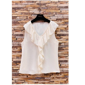 Textiel Dames Tops / Blousjes Fashion brands ERMD-13797-CP-BLANC Wit