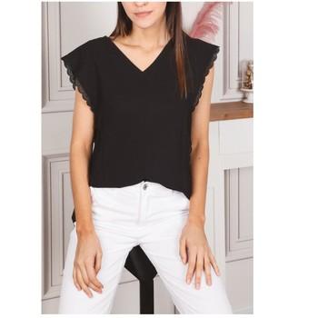Textiel Dames Tops / Blousjes Fashion brands F2106-BLACK Zwart