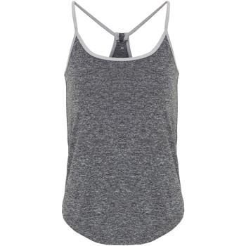 Textiel Dames Mouwloze tops Tridri TR043 Zwart gemêleerd/zilver gemêleerd