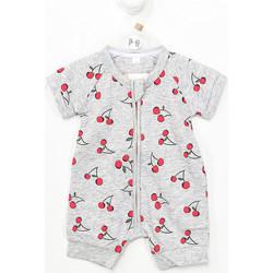 Textiel Kinderen Jumpsuites / Tuinbroeken DIM Barboteuse à manches courtes avec zip Grijs