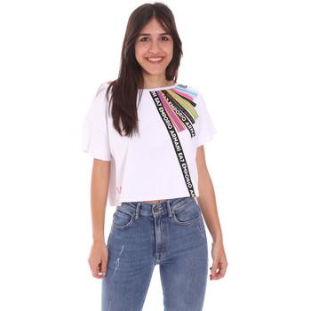 Textiel Dames T-shirts korte mouwen Ea7 Emporio Armani 3KTT40 TJ39Z Wit