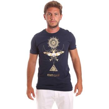 Textiel Heren T-shirts korte mouwen Roberto Cavalli HST65B Blauw