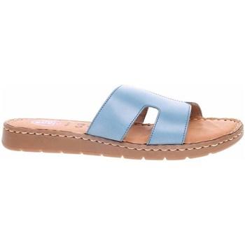 Schoenen Dames Leren slippers Jana 882711526843 Bleu