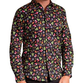 Textiel Heren Overhemden lange mouwen Christmas Shop CS001 Zwart Gesorteerd