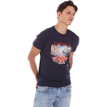 Textiel Heren T-shirts korte mouwen Key Up 2S427 0001 Blauw