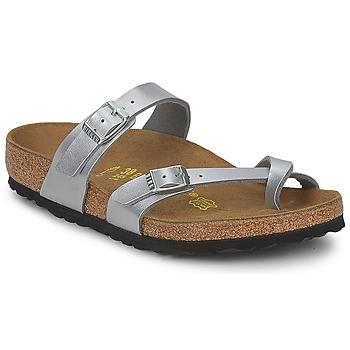 Schoenen Dames Leren slippers Birkenstock MAYARI Zilver