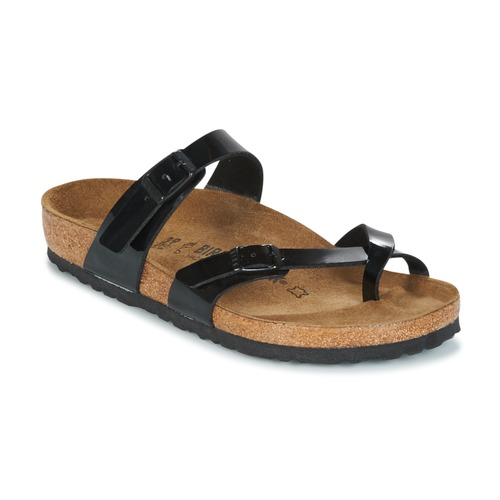 Schoenen Dames Leren slippers Birkenstock MAYARI Zwart / Verni