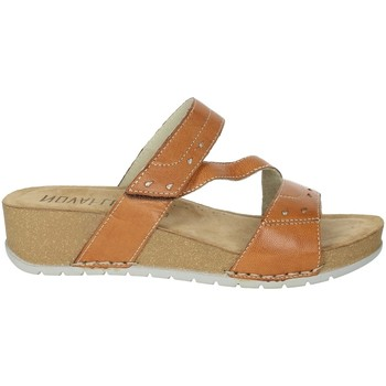 Schoenen Dames Leren slippers Novaflex FALERONE Brown leather