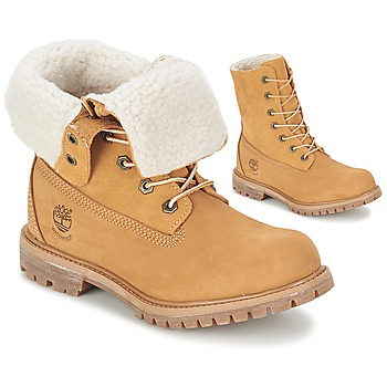 Schoenen Dames Laarzen Timberland AUTHENTICS TEDDY FLEECE WP FOLD DOWN COGNAC / CLAIR