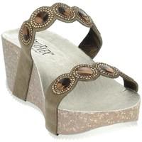 Schoenen Dames Leren slippers Novaflex AGNONE Brown Taupe