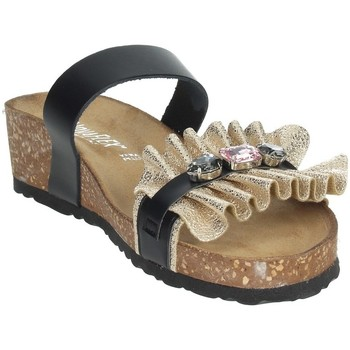 Schoenen Dames Leren slippers Novaflex ADRANO Black/Gold