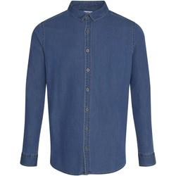 Textiel Heren Overhemden lange mouwen Awdis SD040 Donkerblauw