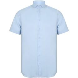 Textiel Heren Overhemden korte mouwen Henbury HB537 Lichtblauw