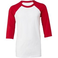 Textiel Dames T-shirts korte mouwen Bella + Canvas BE218 Wit/rood