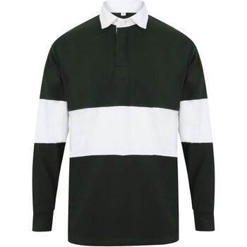 Textiel Polo's lange mouwen Front Row FR07M Fles groen/wit