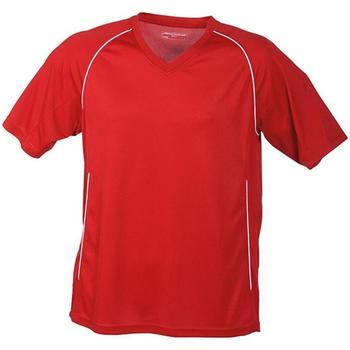 Textiel T-shirts korte mouwen James And Nicholson  Rood/Wit