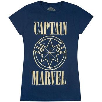 Textiel Dames T-shirts korte mouwen Marvel  Marine