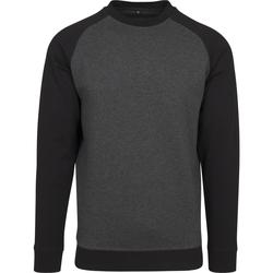 Textiel Heren T-shirts met lange mouwen Build Your Brand BY076 Houtskool/zwart