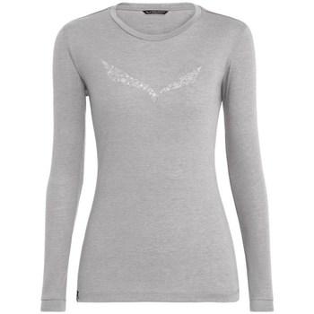 Textiel Dames T-shirts met lange mouwen Salewa Solidlogo Dry W Gris