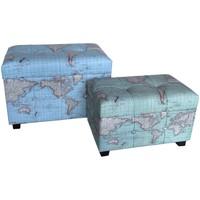 Wonen Trunks, opbergdozen Signes Grimalt Set 2 Wereldkoffers Azul
