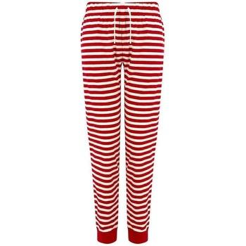 Textiel Dames Broeken / Pantalons Skinni Fit SK085 Rood/Wit