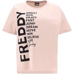 Textiel Dames T-shirts korte mouwen Freddy F1WSDT1 Roze