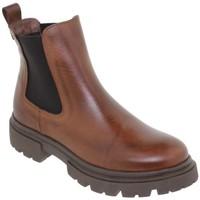 Schoenen Dames Enkellaarzen Casual Shoes Botines de piel con tacón by Chamby Marron
