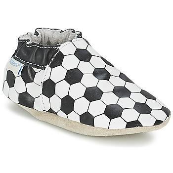 Schoenen Jongens Babyslofjes Robeez GOAL Zwart / Wit