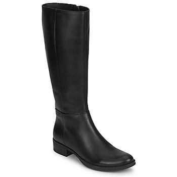 Schoenen Dames Hoge laarzen Geox MENDI STIVALI BASIC Zwart
