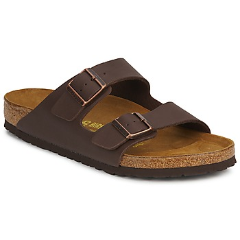 Schoenen Heren Leren slippers Birkenstock ARIZONA LARGE FIT Brown / Donker