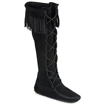 Schoenen Dames Hoge laarzen Minnetonka FRONT LACE HARDSOLE KNEE HI BOOT Zwart