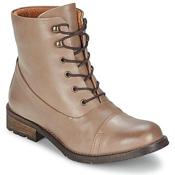 Schoenen Dames Laarzen Pieces SENIDA LEATHER BOOT TAUPE