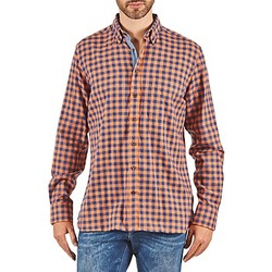 Textiel Heren Overhemden lange mouwen Hackett SOFT BRIGHT CHECK Orange / Blauw
