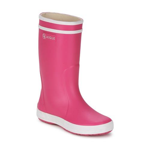 Schoenen Meisjes Regenlaarzen Aigle LOLLY-POP Roze / Wit