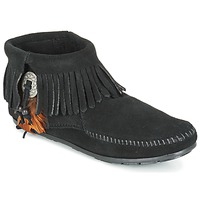 Schoenen Dames Laarzen Minnetonka CONCHO FEATHER SIDE ZIP BOOT Zwart