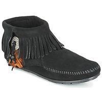 Schoenen Dames Laarzen Minnetonka CONCHO FEATHER SIDE ZIP BOOT Zwart